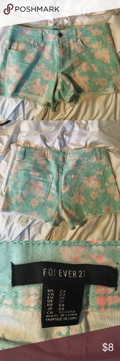 neon floral high waisted shorts neon pink and blue floral printed shorts, from forever 21, size 27 (7-8) high waisted Forever 21 Shorts Jean Shorts