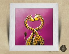 Cadre carré 25x25 avec Illustration Girafes amoureuses pour