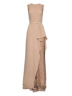Lace-trim ruffle-front gown | Elie Saab |  jαɢlαdyMATCHESFASHION.COM US