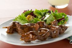 Turn a sirloin steak into an entrée for four with our Caramelized-Beef Skewers recipe. Glazed with a balsamic-Dijon barbecue sauce, these grilled sirloin steak skewers are perfect for summer entertaining or a weeknight barbecue. Kraft Foods, Kraft Recipes, Skewer Recipes, Beef Recipes, Cooking Recipes, What's Cooking, Sirloin Recipes, Grilled Recipes, Beef Meals