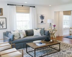 Fresh, eclectic living room by Studio McGee - love the sofa and coffee table,