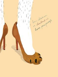 Hair obsession in #Louboutin lion paw pumps.   #fashion #illustration Open Toe - Opentoeillustration.com