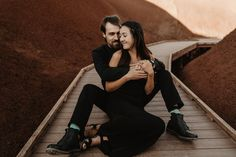 Engagement session at the Painted Hills in Oregon on the most beautiful fall day! Creative Couples Photography, Couple Photography, Engagement Couple, Engagement Shoots, Painted Hills, Oregon, Most Beautiful, Poses, Fall
