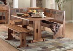 Furniture Rustic High Top Corner Wood Kitchen Table Sets With Bench Seat And Corner Bench & Wow! 30 Space-Saving Corner Breakfast Nook Furniture Sets (2018 ...