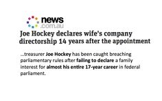 Hockey caught failing to declare a family interest almost his entire 17-year career.