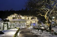 The historic Butchart home at Christmas, The Butchart Gardens, Brentwood Bay, British Columbia,  Canada.