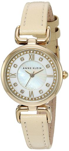 Anne Klein Women's AK/2382MPIV Swarovski Crystal Accented Rose Gold-Tone and Beige Leather Strap Watch -- Be sure to check out this awesome watch.