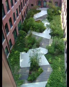 Eric Roth courtyard boardwalk greenery
