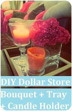 Maria Sself Chekmarev: DIY Dollar Store Craft: Flower Bouquet + Candle Holder + Tray with Items from Dollar Tree. Cheap Gift Baskets, Pink Flower Bouquet, Boho Home, Dollar Tree Crafts, Flower Crafts, Diy Flower, My New Room, Dollar Stores, Diy Home Decor