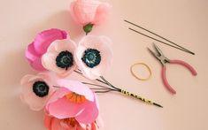 DIY Paper Flower Bouquet by Appetite Paper… Big Paper Flowers, Diy Flowers, Diy Paper, Paper Crafts, Diy Crafts, Paper Art, Paper Bouquet, Flower Bouquet Wedding, Handmade Flowers
