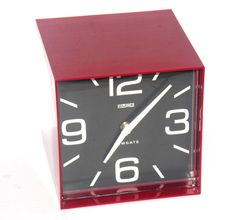 Red Retro Newgate Wall Clock Vintage Cubed by AntiqueAlchemyShop, $35.00