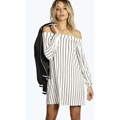 Boohoo Kerrie Stripe Off The Shoulder Shift Dress ($26) ❤ liked on Polyvore featuring dresses, multi, white off shoulder dress, striped jersey dress, shift dress, striped dress and white off the shoulder dress