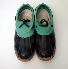 Vintage Chris Craft leather duck shoes women's size 7 M blue green rubber #ChrisCraft #DuckShoes #WalkingHiking