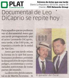 FOX Networks Group: Estreno de Antes que sea tarde en el diario La República de Perú (02/11/16)