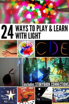 fun light activities for exploring the theme of light - day and night, sun and stars, shadows and more! Perfect for preschool through to second grade. Shadow Theme, Shadow Play, Steam Activities, Science Activities, Science Experiments, Science Stations, Indoor Activities, Reggio Emilia, Licht Box