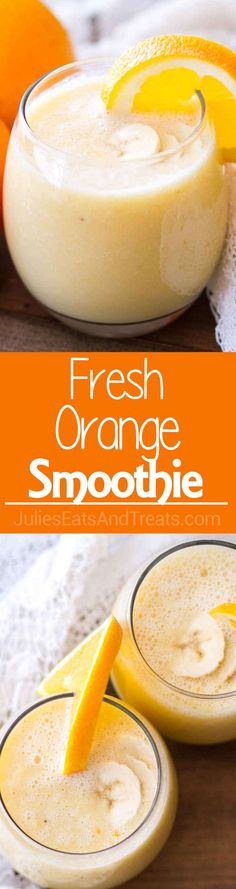 Fresh Orange Smoothie Recipe ~ Only 4 Ingredients Makes it a Perfect Quick, Easy Breakfast or Snack! Packed with Vitamin-C to Help You Feel Great! via @julieseats