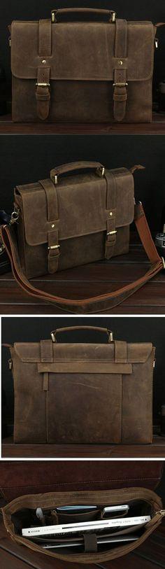 #Vintage Slim #Notebook #Portfolio #Leather Bag - Dark Brown