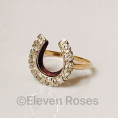 Vintage 14k Gold Diamond Horseshoe Ring Vintage 14k Gold Diamond Horseshoe Ring - 14k Yellow Gold - 11 Prong Set Diamonds, Approx .33 CTW -  Hallmarked; 14k - US Size 8 Jewelry Rings