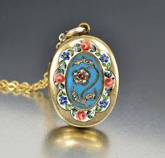 Enamel Flower Garnet Pearl Antique Gold Locket  #Antique #Charm #namel #Locket #Garnet #Pearl #Flower #Gold #Victorian #Enamel