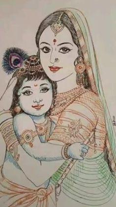 Yashoda Krishna, Bal Krishna, Cute Krishna, Krishna Art, Shiva Art, Hindu Art, Lord Krishna, Radha Krishna Sketch, Shree Krishna