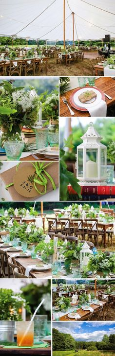 Tidewater Tent, All Wood Tables, Vintage Green Glasses and White Hex Lanterns from Classical Tents.