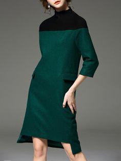 Green Turtleneck Asymmetric 3/4 Sleeve Midi Dress