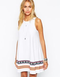 ASOS | ASOS Swing Dress with Embroidered Tape Detail at ASOS