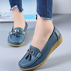 Spring Flats Women Shoes Loafers Genuine Leather Women Flats Slip On Womens Loafers Female Moccasins Shoes Clarks, Types Of High Heels, Women's Shoes, Leather Loafer Shoes, Women's Loafers, Oxfords, Flip Flop Shoes, Loafers For Women, Shoes Women