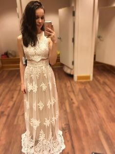 Girls Two Piece Prom Dresses,Sheath/Column Scoop Neck Tulle Long Formal Dresses, Appliques Lace White Evening Party Gowns
