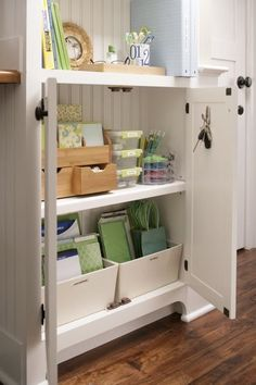 Organization * labeled containers to easily view items and drawers for smaller objects