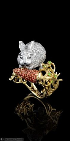 ~Master Exclusive Ring 7488 Collection: Animal world 18K yellow and white gold, diamonds, black diamonds, orange sapphires, demantoid.