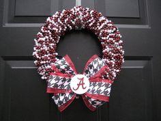 Beaded Roll Tide Bama Wreath by APinkLemonadeDesigns on Etsy, $45.00
