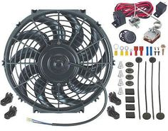 "12"" Inch Electric Automotive Radiator Fan & Adjustable Thermostat Controller Kit"