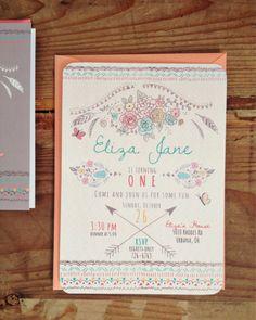 Boho Chic Birthday Invitation /// Bohemian Pastel /// FREE SHIPPING! by daydreamspaper on Etsy https://www.etsy.com/listing/211347339/boho-chic-birthday-invitation-bohemian