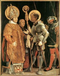 St Maurice, pictured with St. Elmo, was a black patron saint of the Holy Roman Empire, who was the Knight Commander of the famous Roman Theban Legion in the 3rd century.