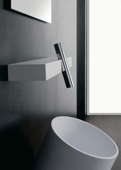 Rubinetterie 3M | wall mounted BLOK mixer | Minimal Living Style | Modern Minimalist Bathroom Interiors | Contemporary Decor Design #inspiration #nakedstyle