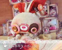 Bunny rabbit plush toy, woodland animal.