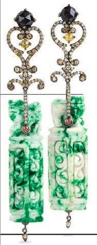 Diamond and craved jade earrings - BOCHIC. Elite Traveller.