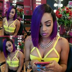 Ombre purple wig with dark roots cheap short bob glueless synthetic lace front wig heat resistant hair for african american wigs