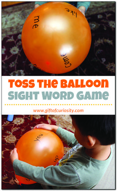 Toss the Balloon Sight Word Game: This activity takes just one minute to set up but will keep your child entertained for much longer. It's a great way to practice reading sight words while helping your child stay active and burn some energy. Teaching Sight Words, Sight Word Practice, Sight Word Games, Spelling Activities, Sight Word Activities, Literacy Activities, Family Activities, Kindergarten Literacy, Preschool Learning