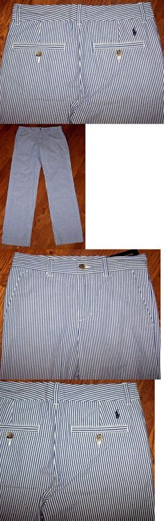 Pants 51920: Nwt Polo Ralph Lauren Blue White Seersucker Pants 7 Boys Preppy Navy Pony Nice -> BUY IT NOW ONLY: $34.99 on eBay!
