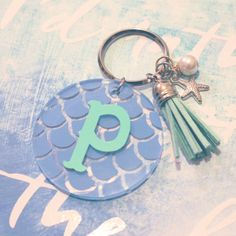 Mermaid Scales Initial Keychain With Tassel And by moonandstarco