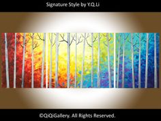 """56"""" Large abstract landscape birch oil painting rainbow colors Impasto Birch Trees Wall Décor Wall Decals by QIQIGALLERY"""