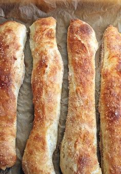 "JIM'S STECCA BAGUETTE ~~~ this no knead bread recipe is shared with us from the book, ""my bread"". stecca aka stick in [Jim Lahey] [onegirlinthekitchen] No Knead Bread, Pan Bread, Bread Baking, Ciabatta, Wine Recipes, Cooking Recipes, Artisan Bread, Bread Rolls, I Love Food"