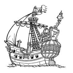 Pirate Art Activities For Preschoolers   Pirate Ship Coloring Page ...
