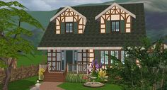 while I'm actually posting things, here's a house! for some reason I decided a storybook cottage-ish exterior def needed very contemporary furniture. Cottages And Bungalows, Storybook Cottage, Contemporary Furniture, Sims, Exterior, Cabin, Mansions, House Styles, Plays