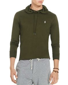 Polo Ralph Lauren Featherweight Pima Cotton Hoodie Tee Defender Green $109 FREE SHIPPING OR PICK UP