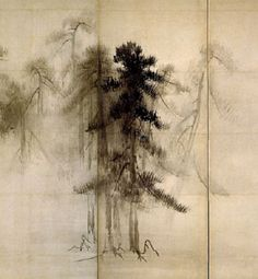 . 松林図・右隻 Pine Trees S(hōrin-zu byōbu) Hasegawa Tohaku Pair of six-folded…