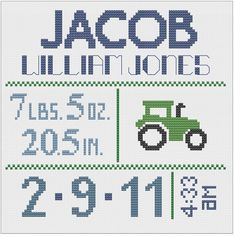 Customized Cross Stitch for Baby - Pattern - Tractor