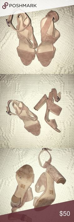 Madewell Heels Worn only once (I promise!!). Blush suede size 6.5 Madewell Shoes Heels